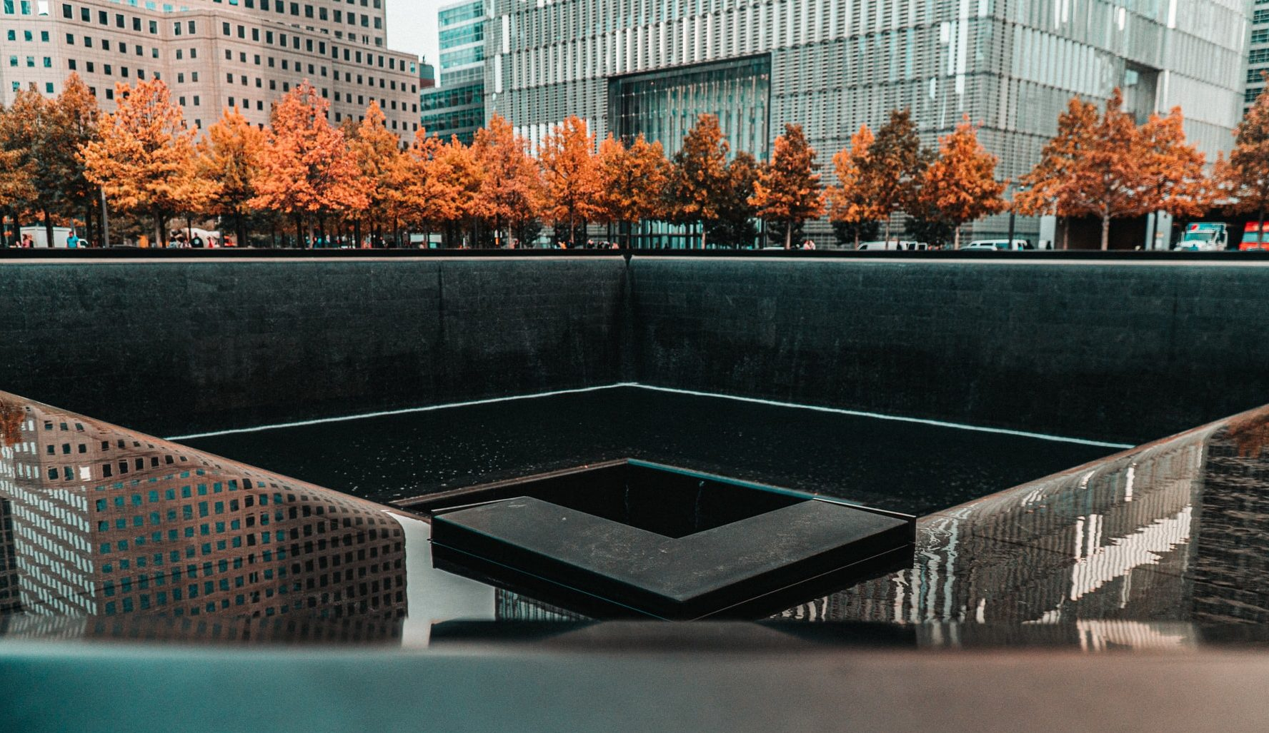 9/11 Memorial fountain at Ground Zero NYC