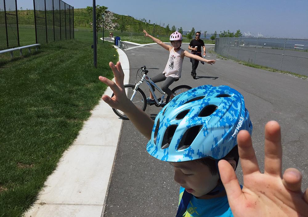 kids biking on Governors Island