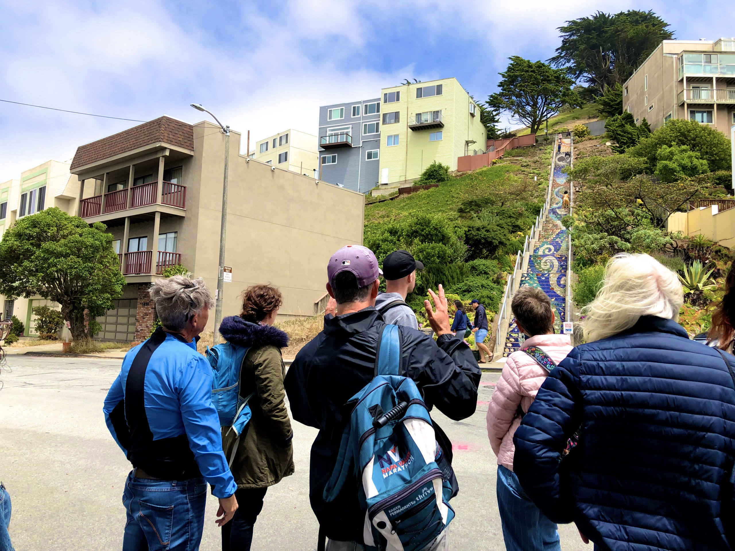 tour goers at a 16th Avenue Tiled Steps tour in San Francisco