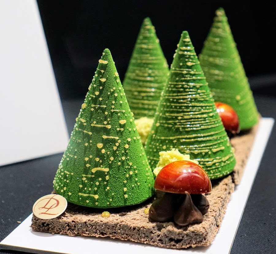 Christmas trees made from chocolate by a Parisian confectioner
