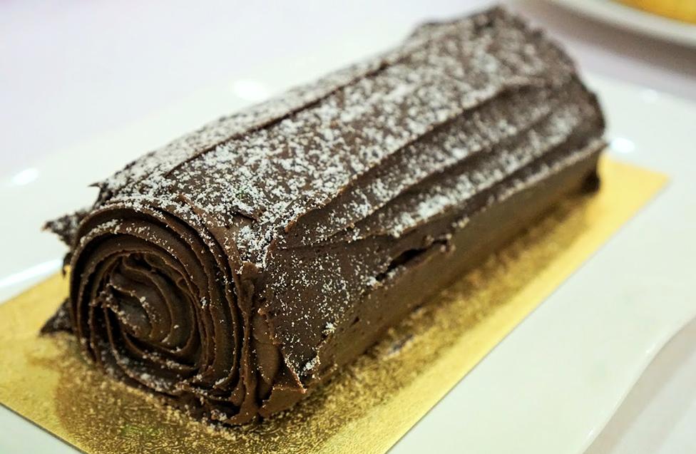 Chocolate yule log in Paris for a Parisian Christmas treat