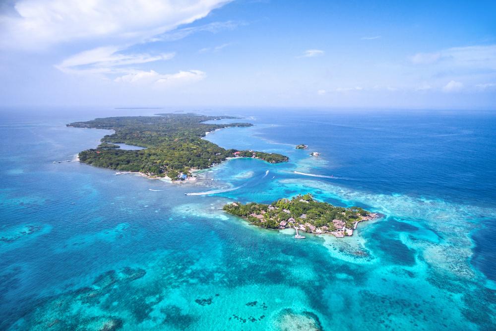 Aerial view of Rosario Islands in Cartagena de Indias