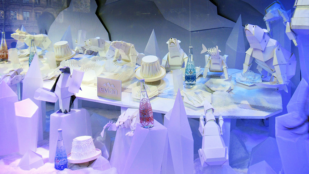 A holiday display in a Paris department store window for the annual vitrines de Noël