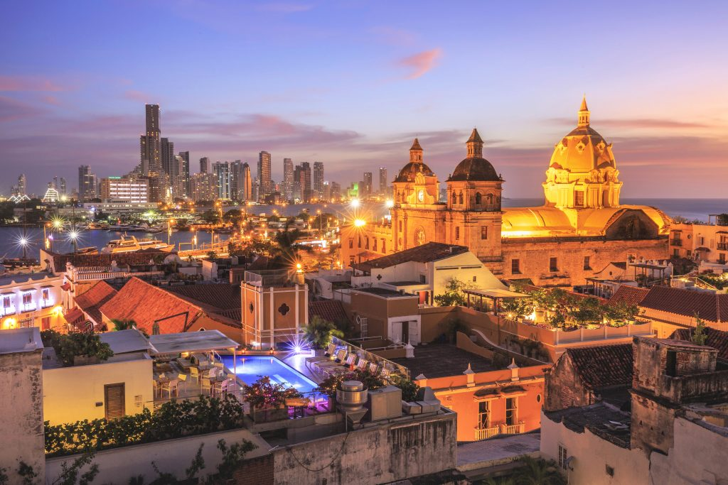 Night View of Cartagena de Indias, Colombia