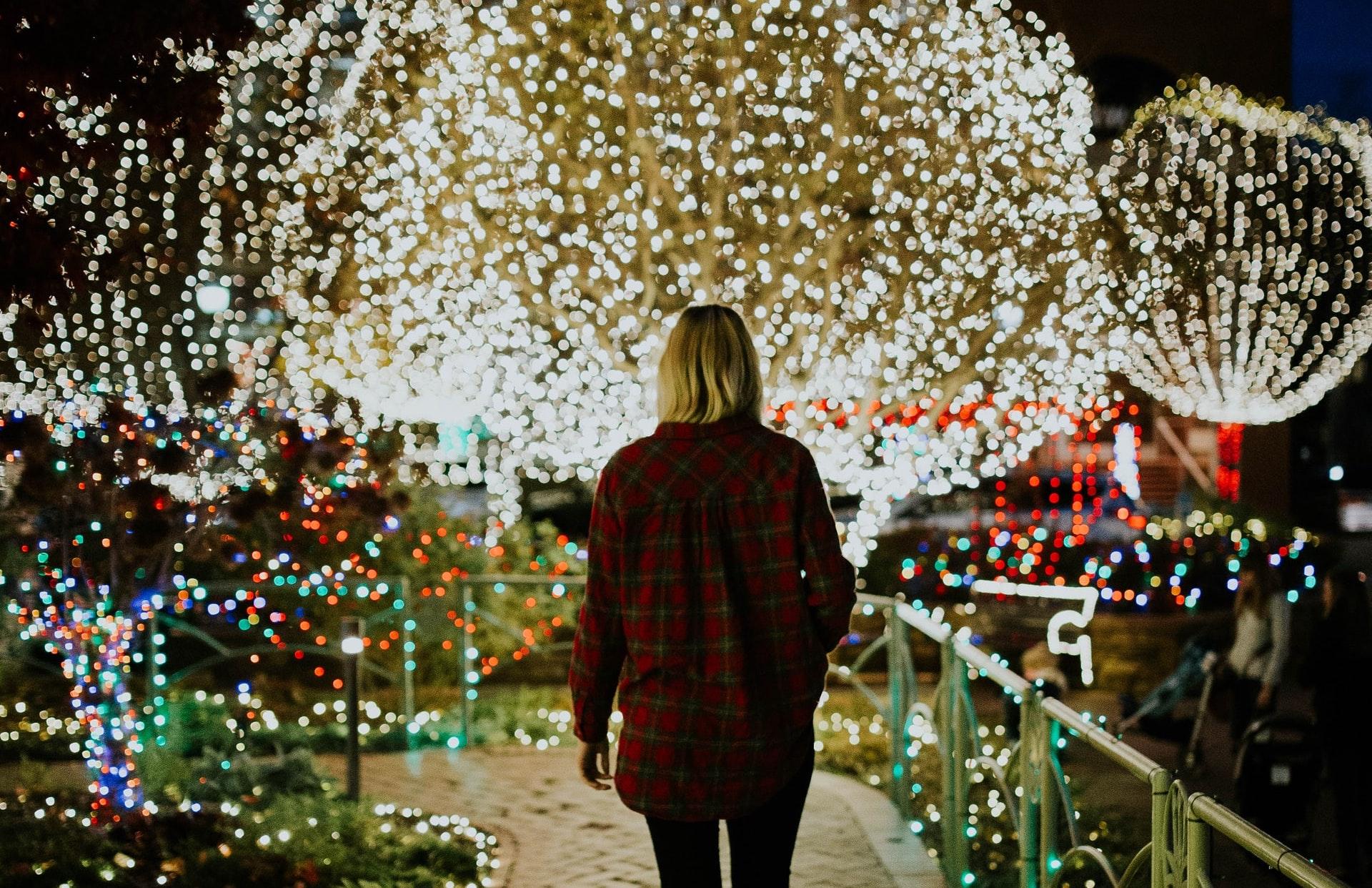 Christmas lights display outside