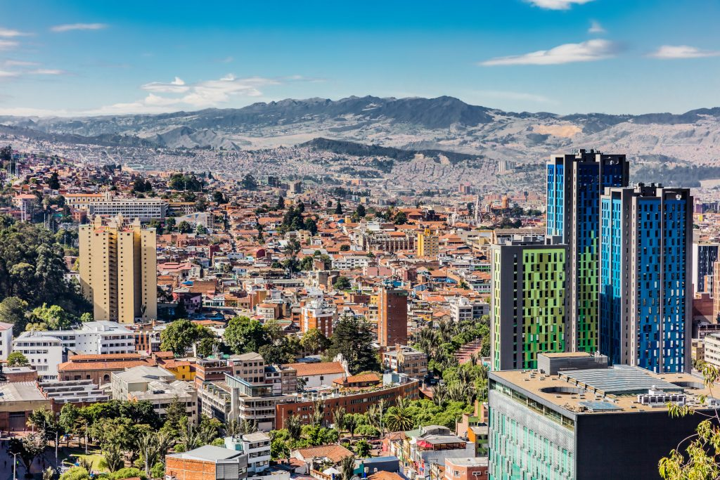 Cityscape in Bogota with mountains