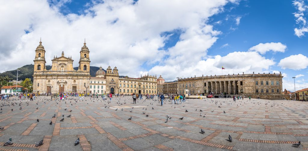 Panoramic view of Bolivar Square with Cathedral and Colombian National Capitol and Congress in Bogota, Colombia