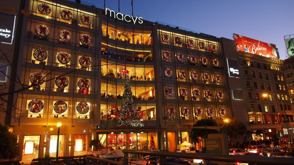 Macy's Christmas display in San Francisco in December