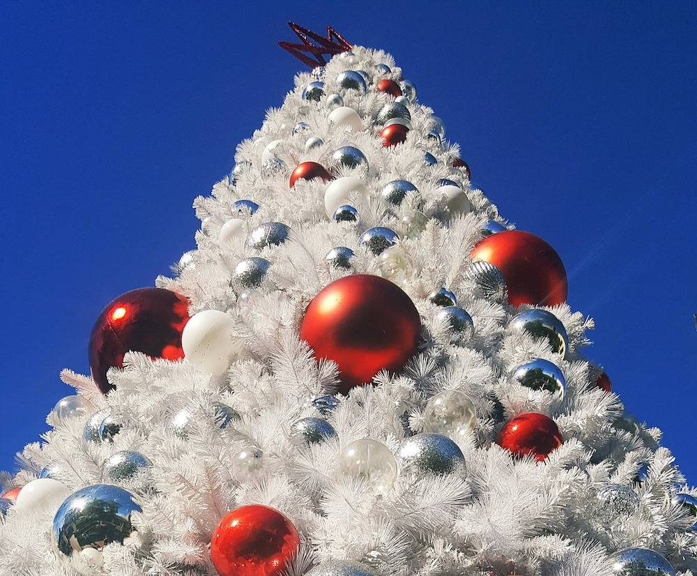 white flocked Christmas tree in Los Angeles