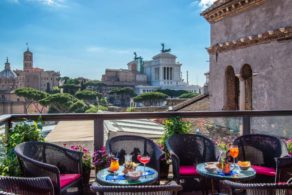 American Bar Hotel Forum rooftop restaurant with view of Rome
