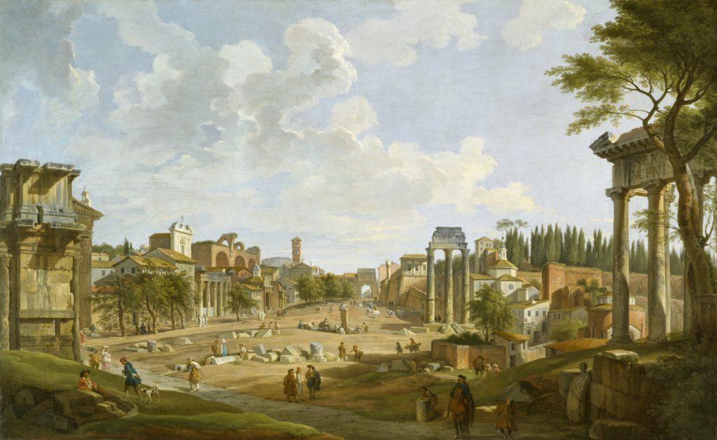 Historic painting of the Roman Forum