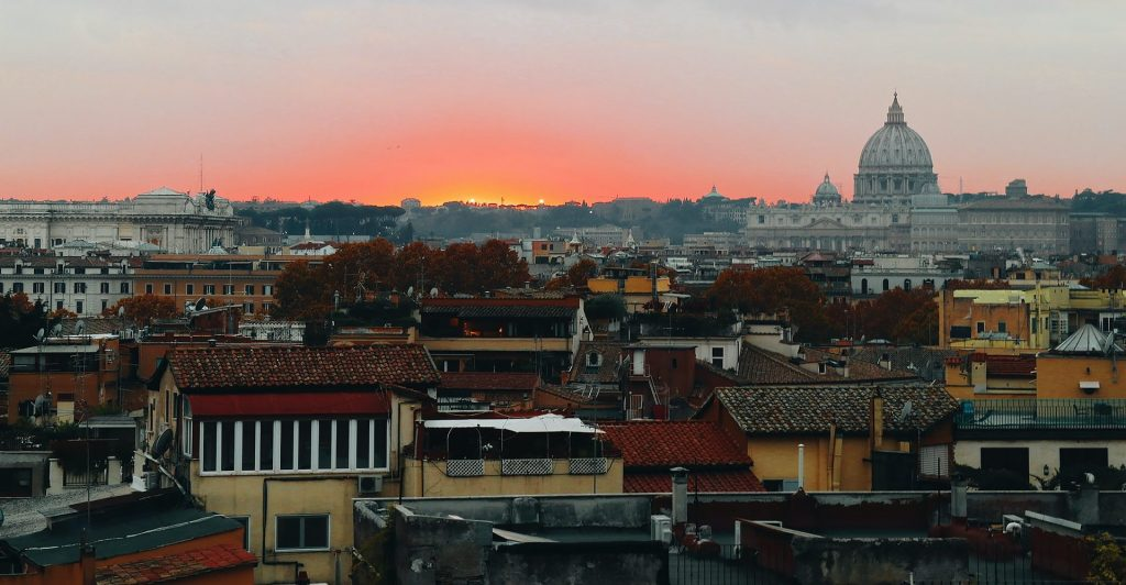 Skyline view of Rome with the basilica