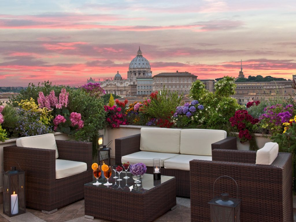 View of St. Peter's Basilica from Coffee Garden La Terrazza Paradiso, a rooftop restaurant in Rome