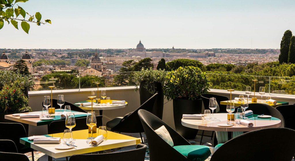 Settimo rooftop restaurant in Rome with view of basilica