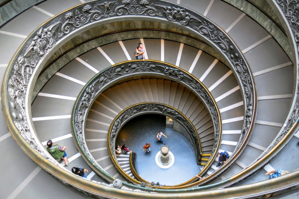 Vatican Museums spiral staircase, one of the things to see and do in the Vatican