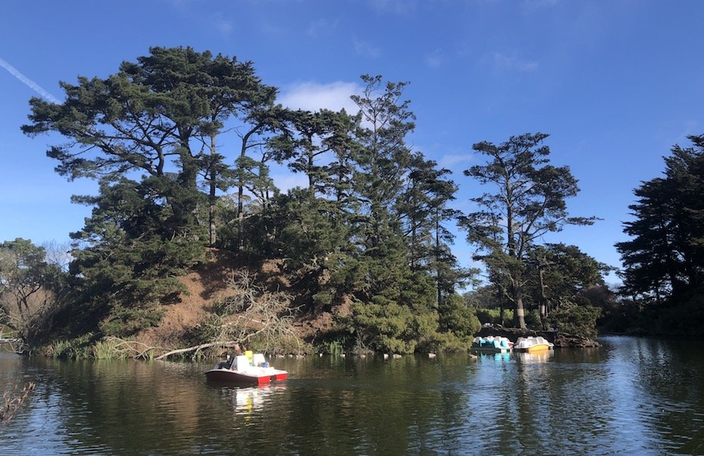Boating on Stow Lake