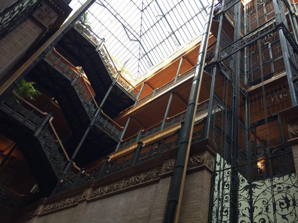 Bradbury Building interior with sunlit ceiling