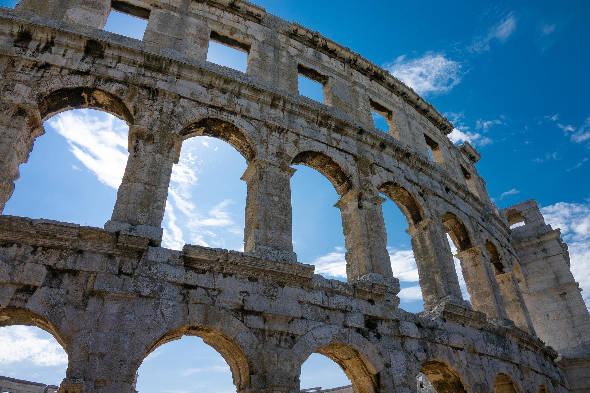 Closeup of the Roman Colosseum rotunda