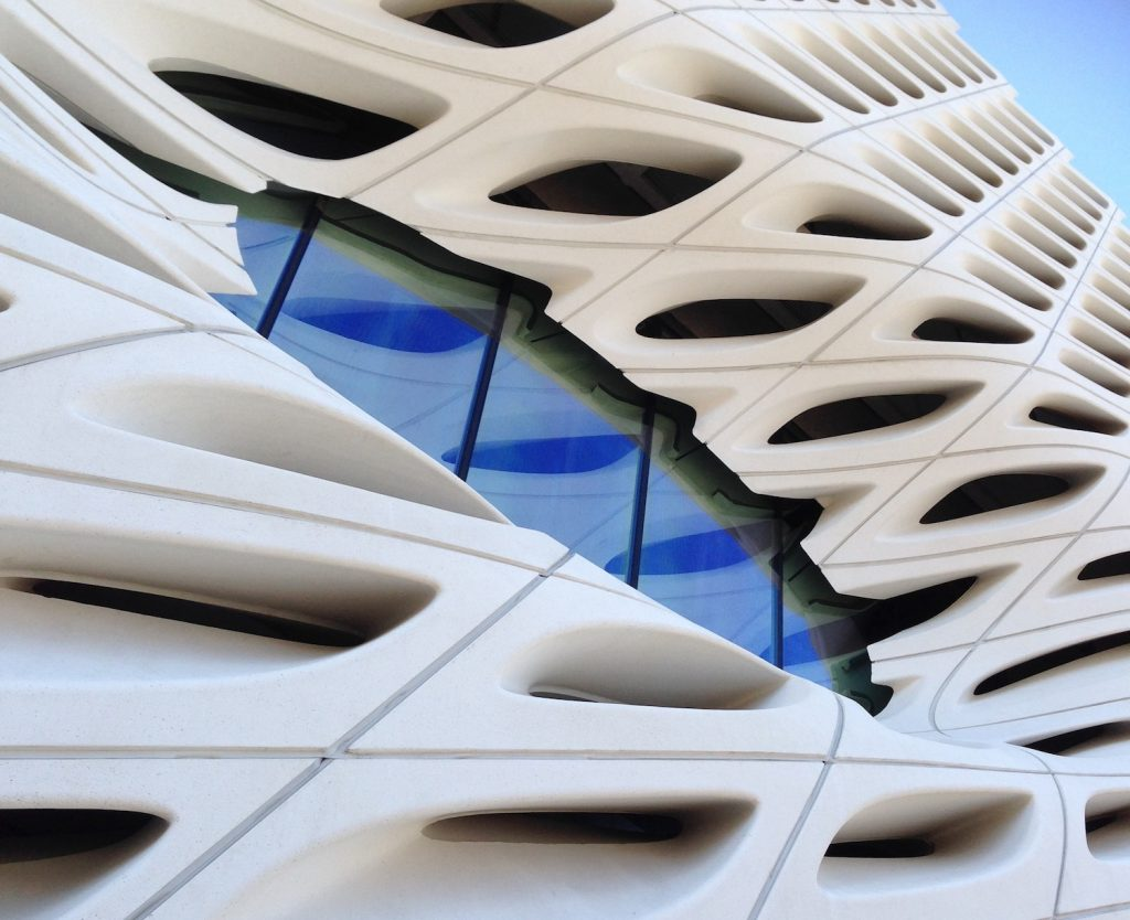 Closeup of The Broad architecture in downtown LA