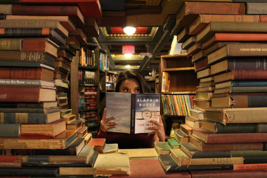 The Last Bookstore book window for Instagram tour of DTLA