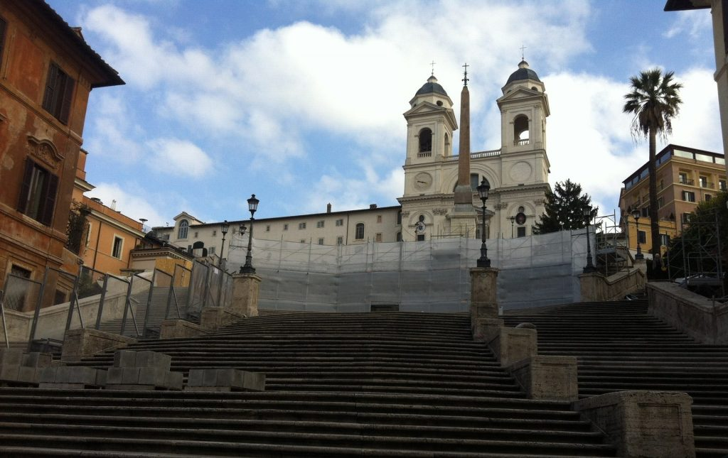 Empty Spanish steps in Rome with no tourists