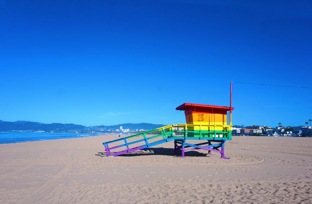 Rainbow-colored lifeguard stand in Venice Beach CA