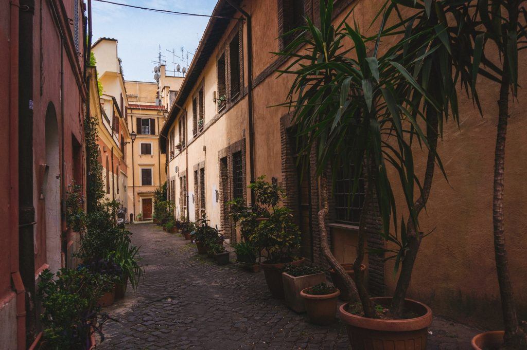 Empty Roman street in the off-season for budget travelers in Rome