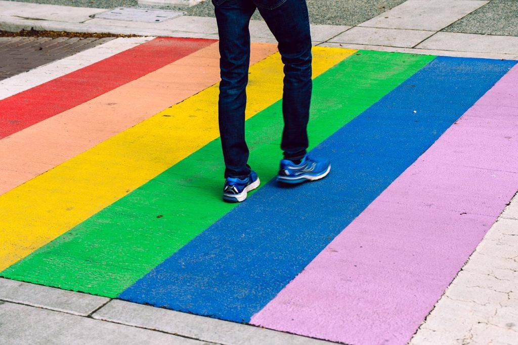 LGBTQ rainbow crosswalk for PRIDE