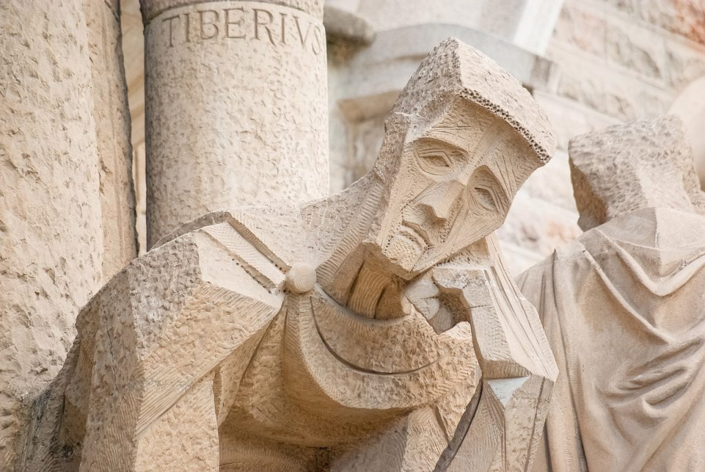 Sagrada Familia statue carved into the facade