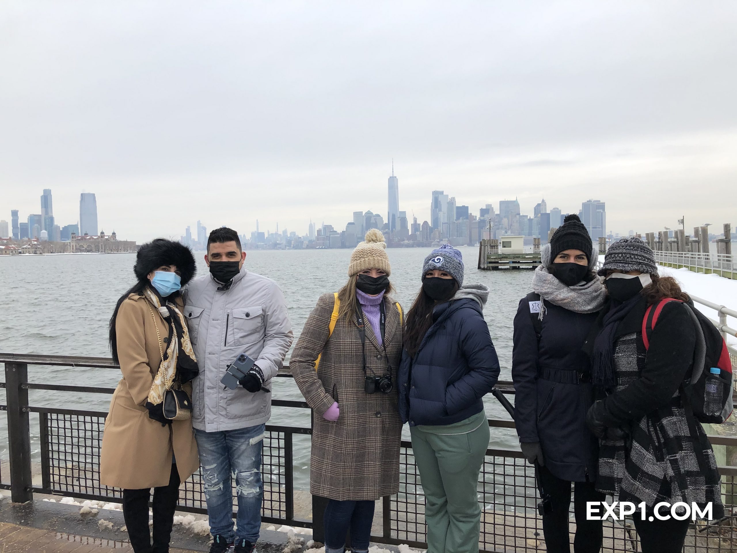 Group photo Statue of Liberty and Ellis Island Tour on 14 February 2021 with Chris