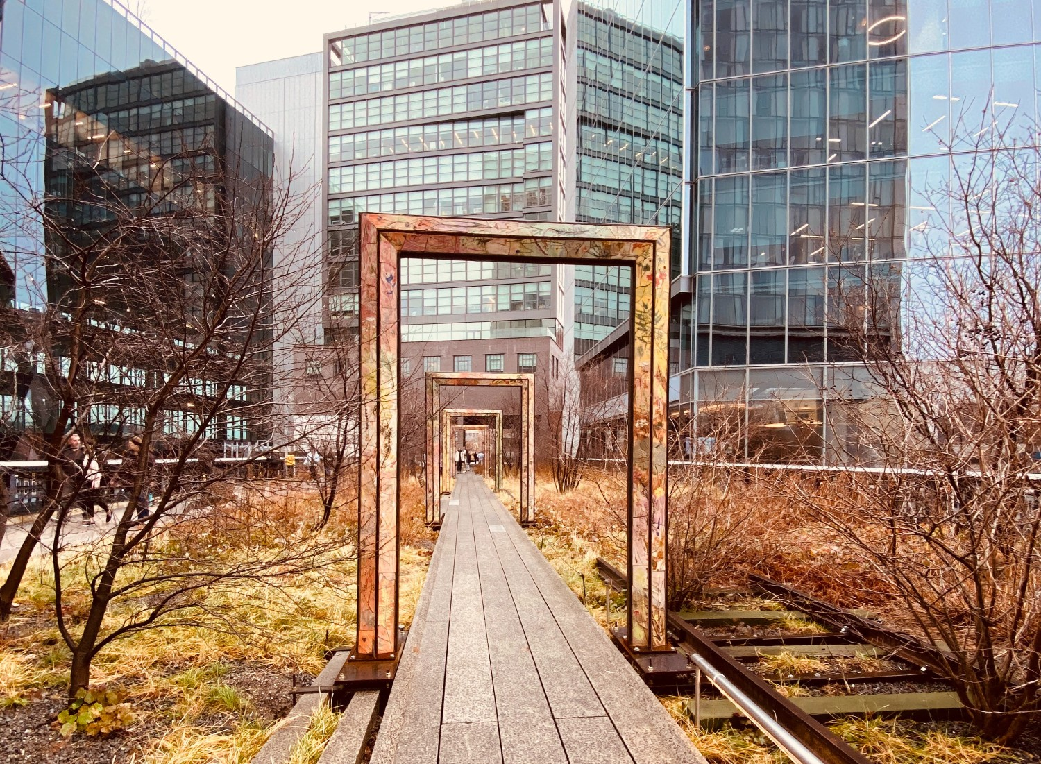 A view down the High Line park in NYC