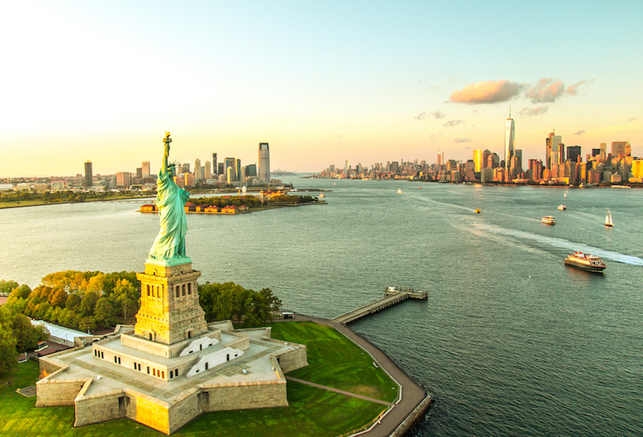 Liberty Island overlooking Manhattan Skyline