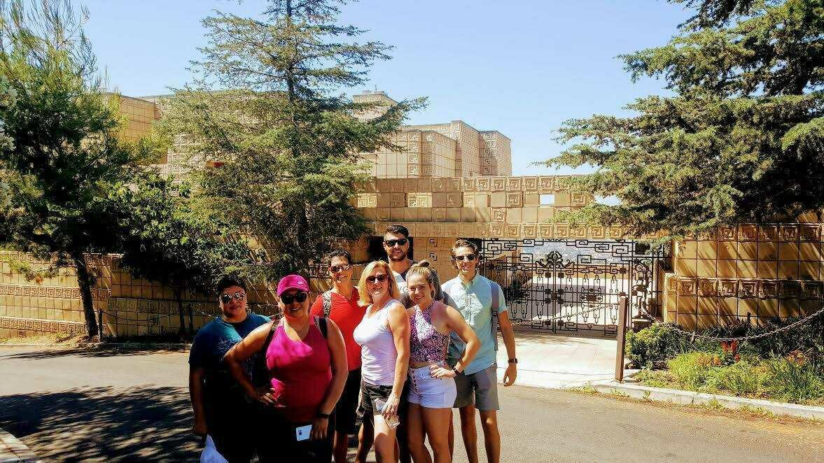 LATour1 tour group in front of the Ennis House