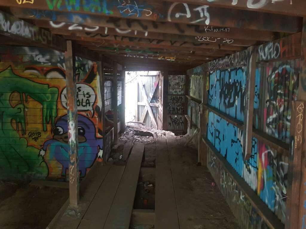 Ruined Structures Covered In Graffiti