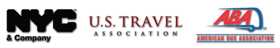 brand logos of nyc and company us travel association and american bus association