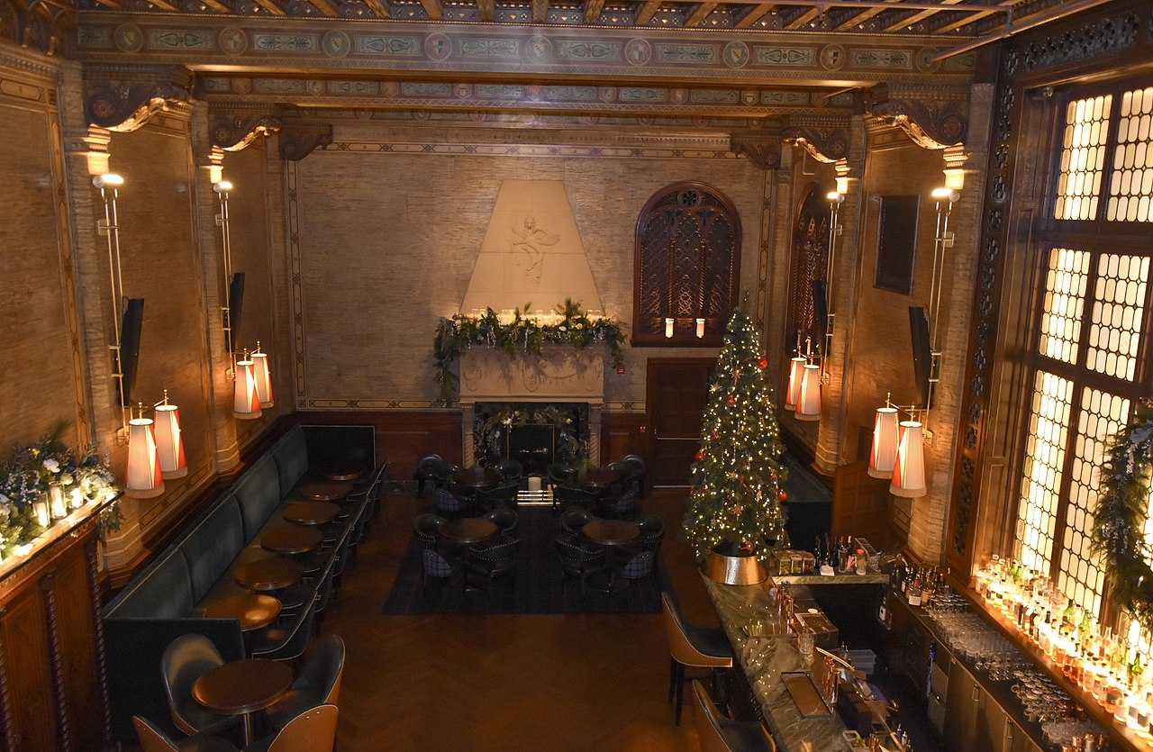 Inside of a bar with christmas tree