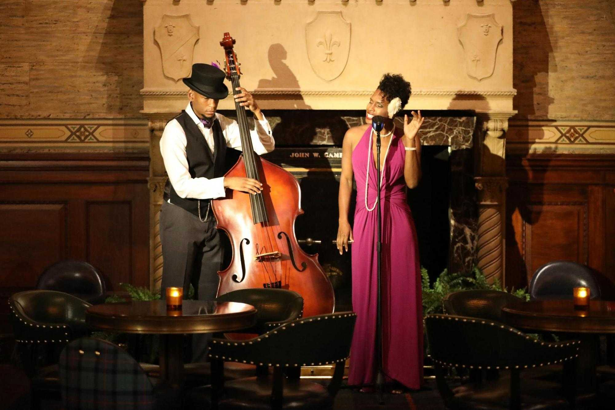 Two people performing jazz music