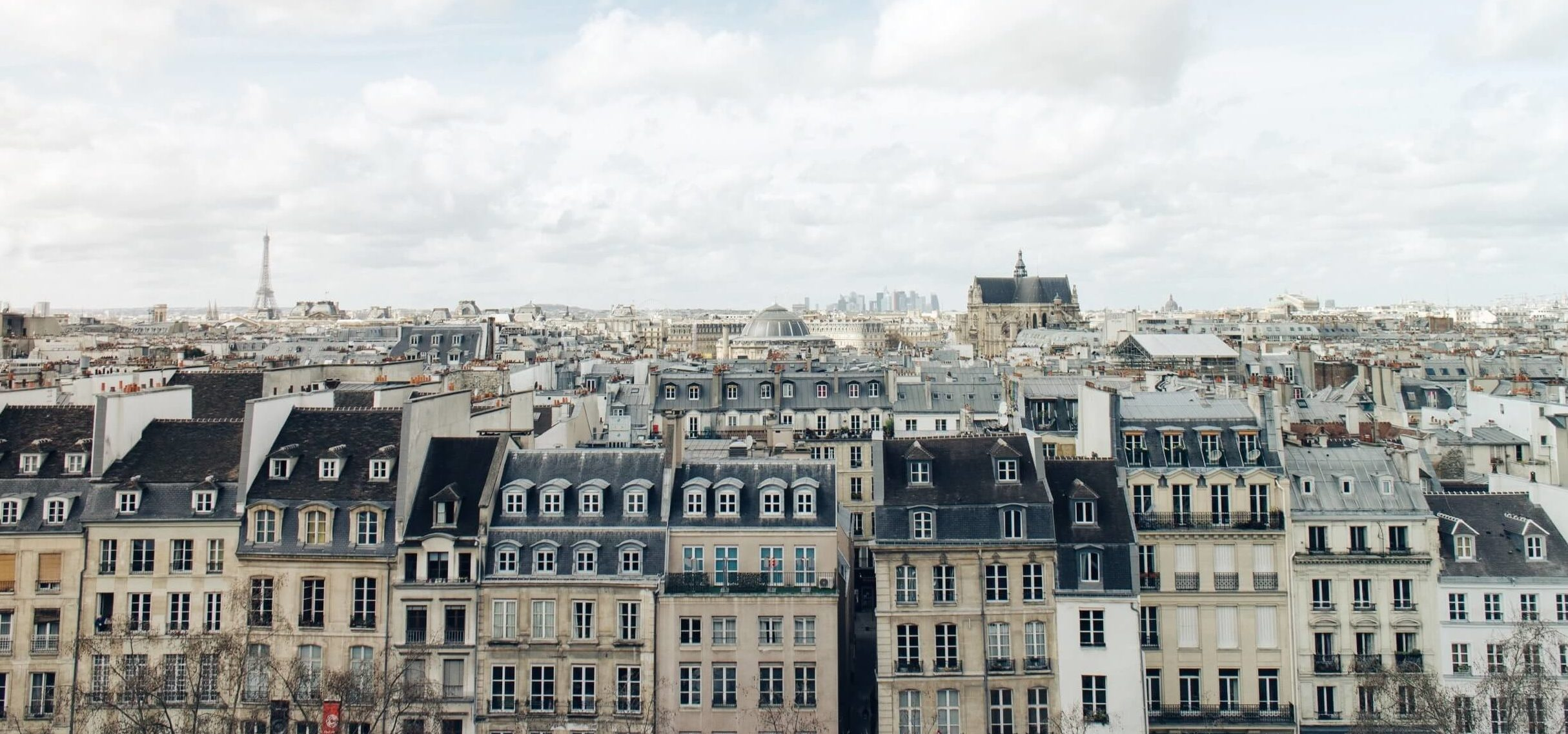 A view from the Centre Pompidou over the residential apartment buildings of Paris