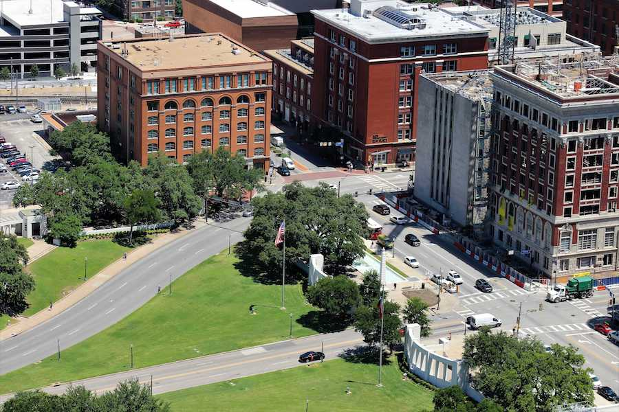 An aerial view of Dealey Plaza in Dallas seen from Reunion Tower