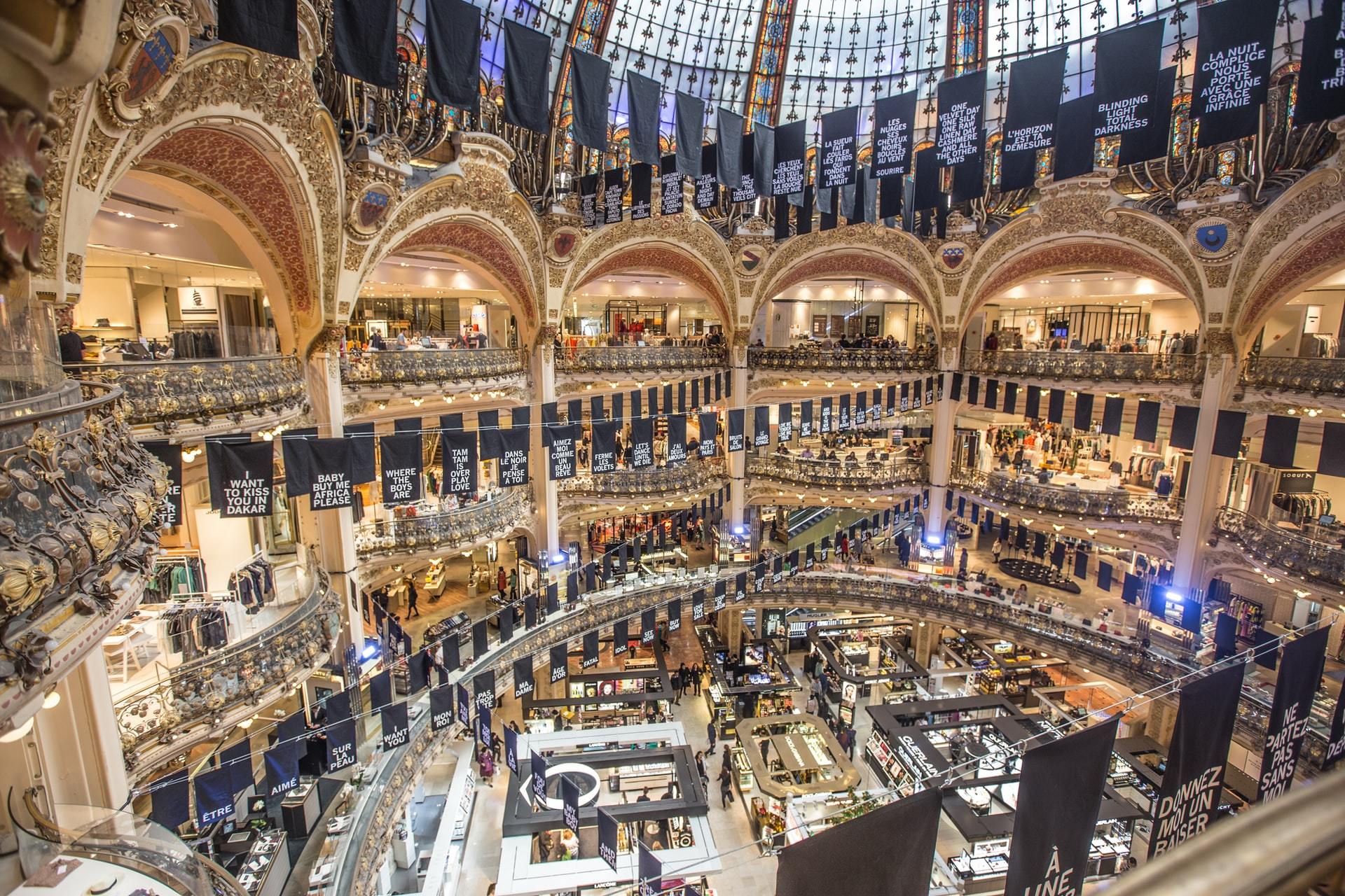 Interior of Galeries Lafayette shown floor by floor