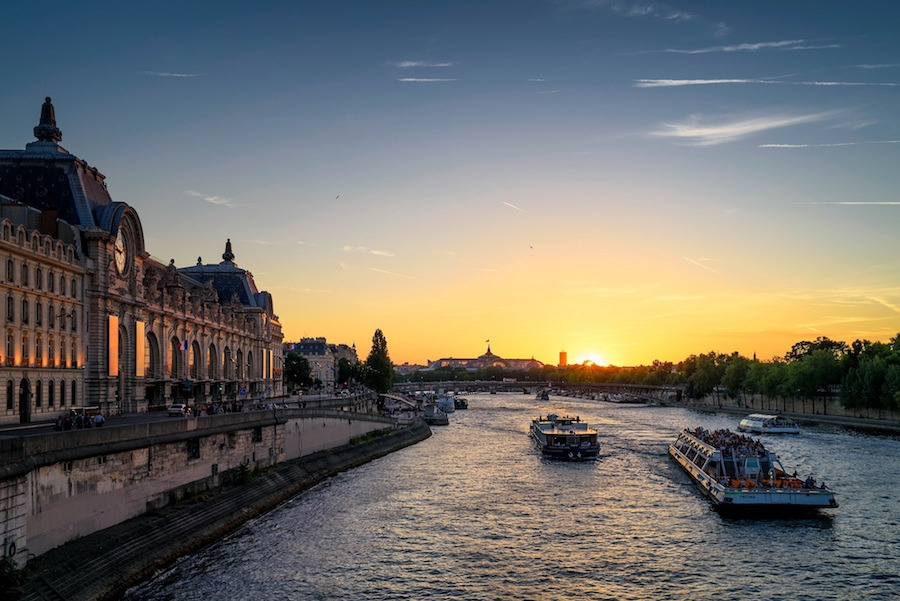 Seine River in Paris showing Orsay Museum