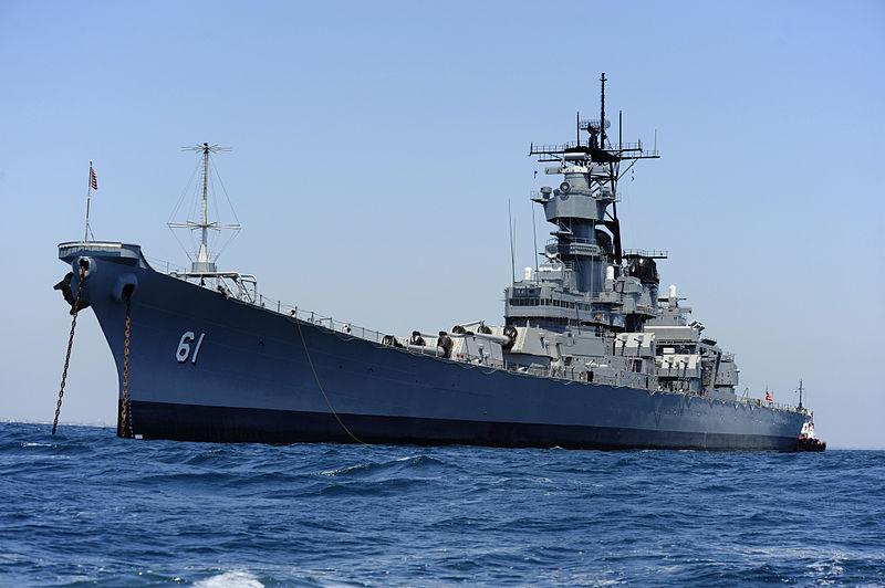 USS Iowa off the California coast