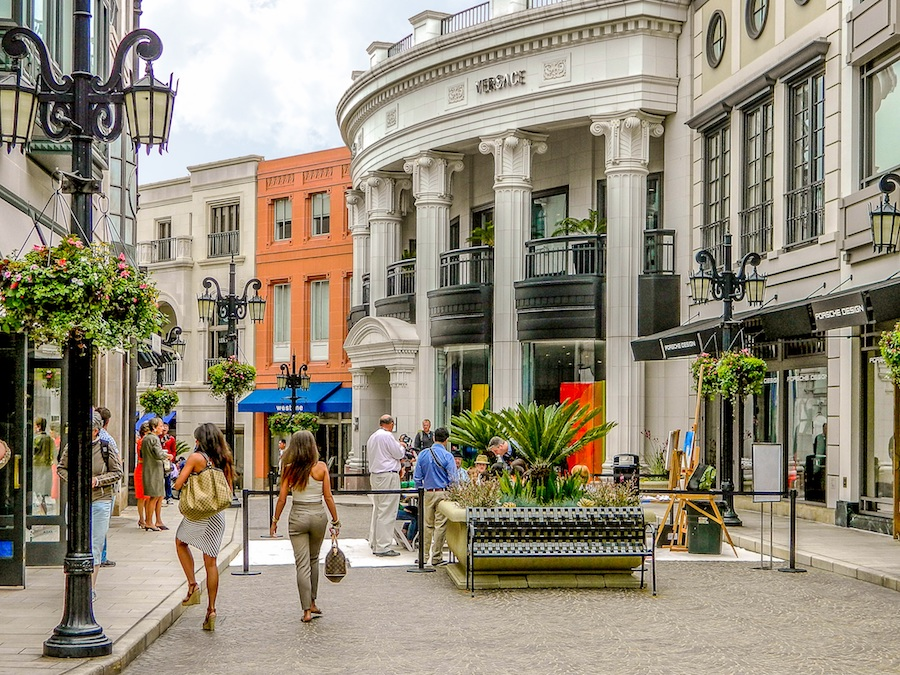 Beverly Hills Rodeo Drive shopping district with pedestrians
