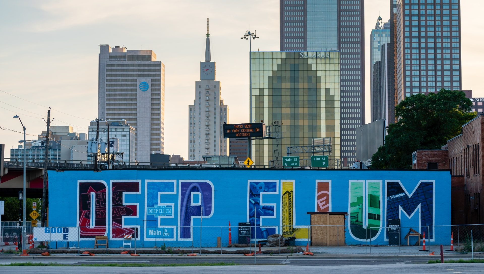 Deep Ellum mural with the name of the neighborhood