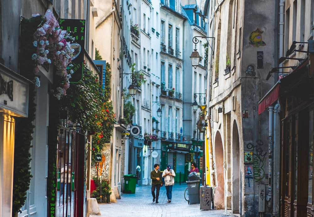 Le Marais neighborhood street in Paris