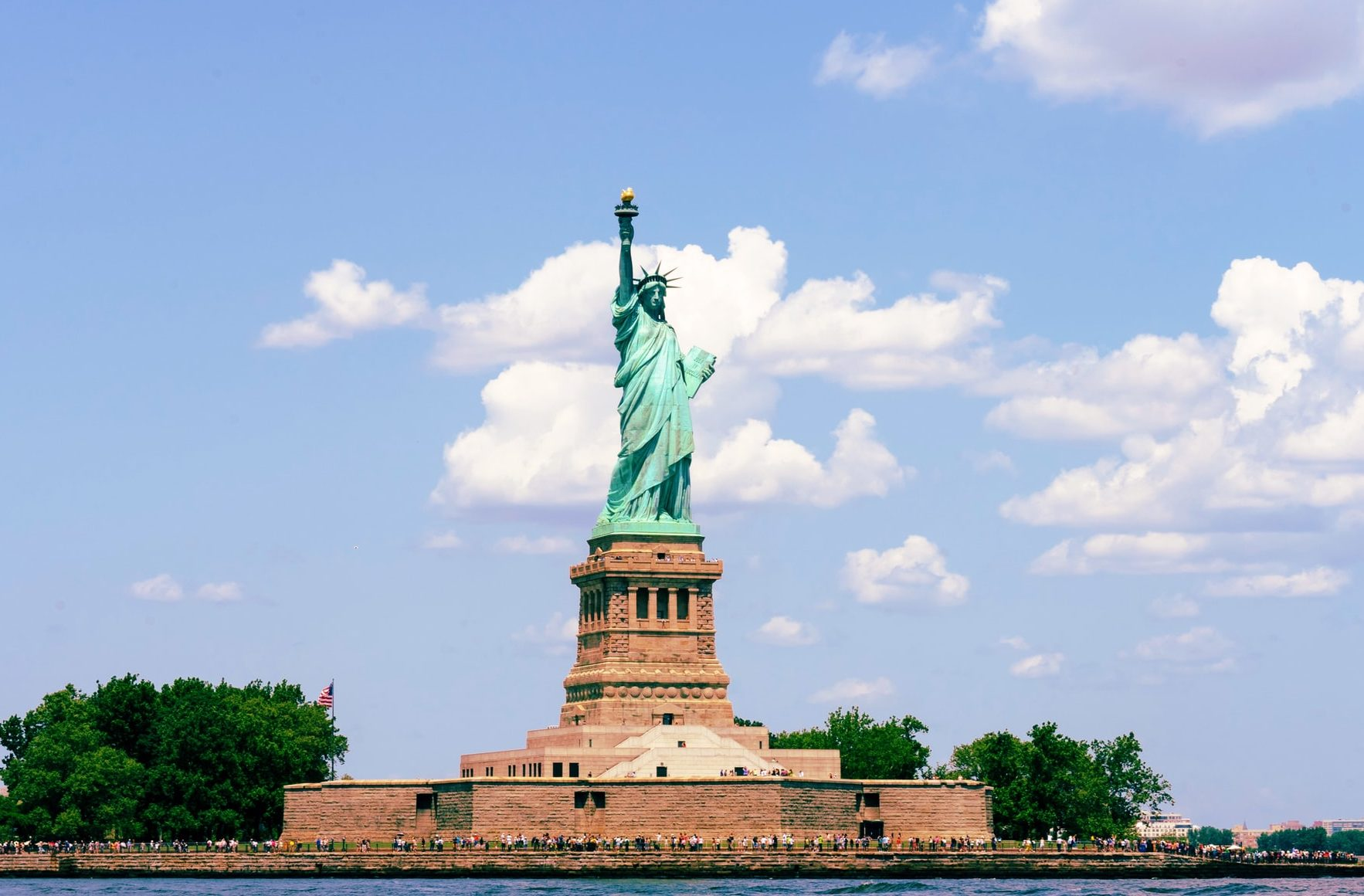 Statue of Liberty on island in NYC